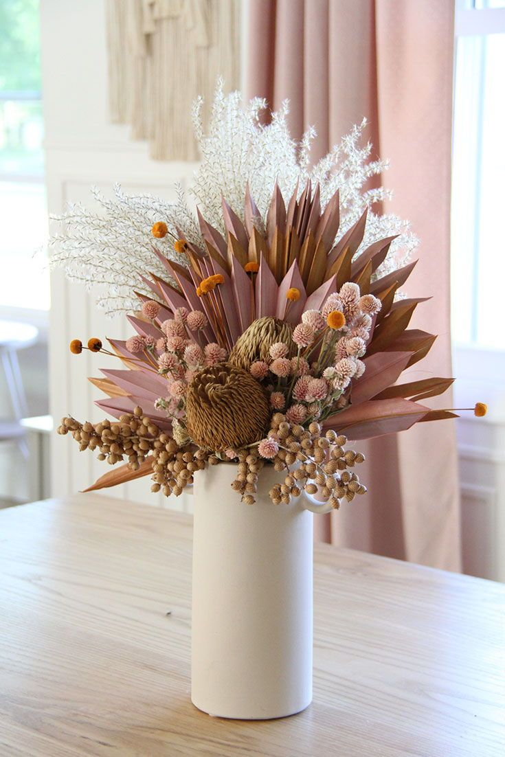 Diy Home Decor Dried Flower Arrangement With Preserved Florals And