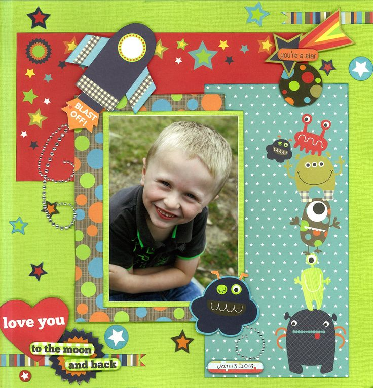 *~*~* Love You to the Moon & Back *~*~* This page was created by PH designer, Alicia O'Connell using the 'Blast Off' collection. #space #rocket #scrapbook #purplehedgehog #layout #kids #colorful #monsters #aliens
