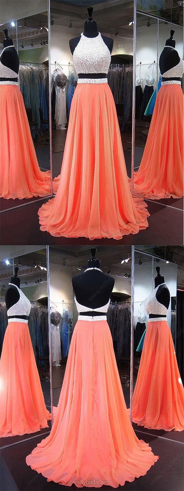 Perfect #PromDress,A-line Prom Dress,#Halter Prom Gown,#Chiffon Prom Dresses,#Crystal Prom Dress,Backless Prom Dress,#TwoPiece Prom Dresses