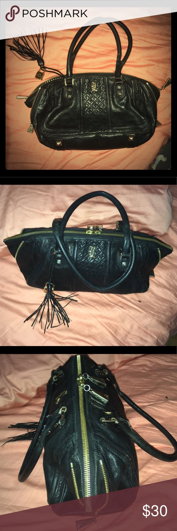 LAMB Black Leather Shoulder Handbag w Double Strap LAMB Black Leather Shoulder Handbag w Double Straps. Bag has gold decorated hardware. Gently used but kept in good condition w Leather protection oil applied. LAMB Bags Shoulder Bags