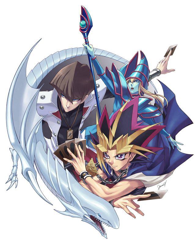 Seto Kaiba and Yami Yugi (Atem) with Blue-Eyes White Dragon and Dark Magician