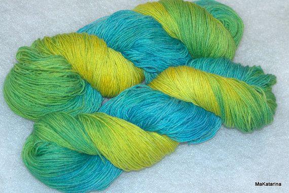 Hand dyed yarn spring yarn handpainted yarn by MaKatarinaCorner