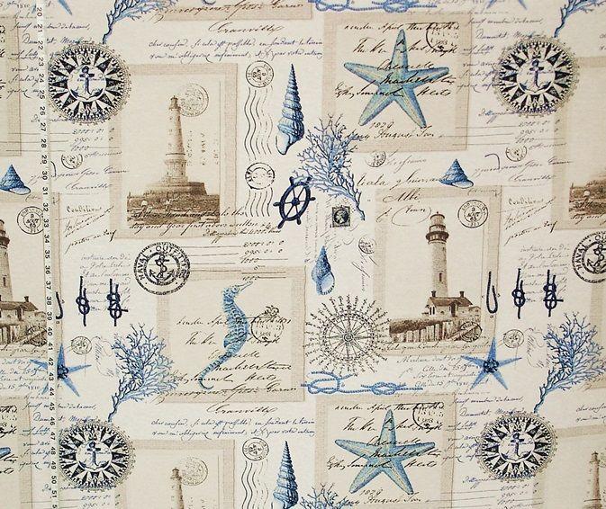 Nautical Lighthouse Fabric Vintage Postcard French Writing
