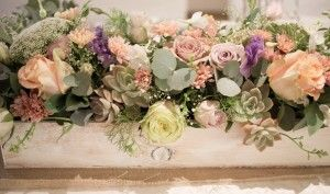 Stunning vintage main table large floral piece done in a white washed wooden box - Hertford  Country Hotel, Johannesburg. Floral Design & Decor  by www.pinkenergyfloraldesign.co.za