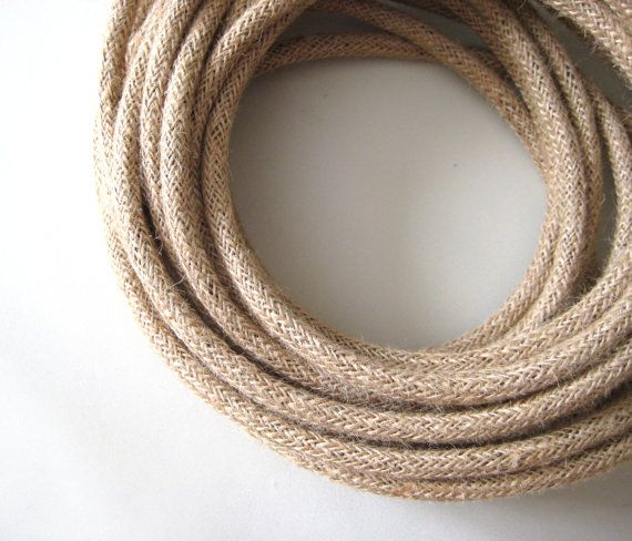 Linen Fabric Cloth Covered Wire Electrical Cord  Braided by fatroo