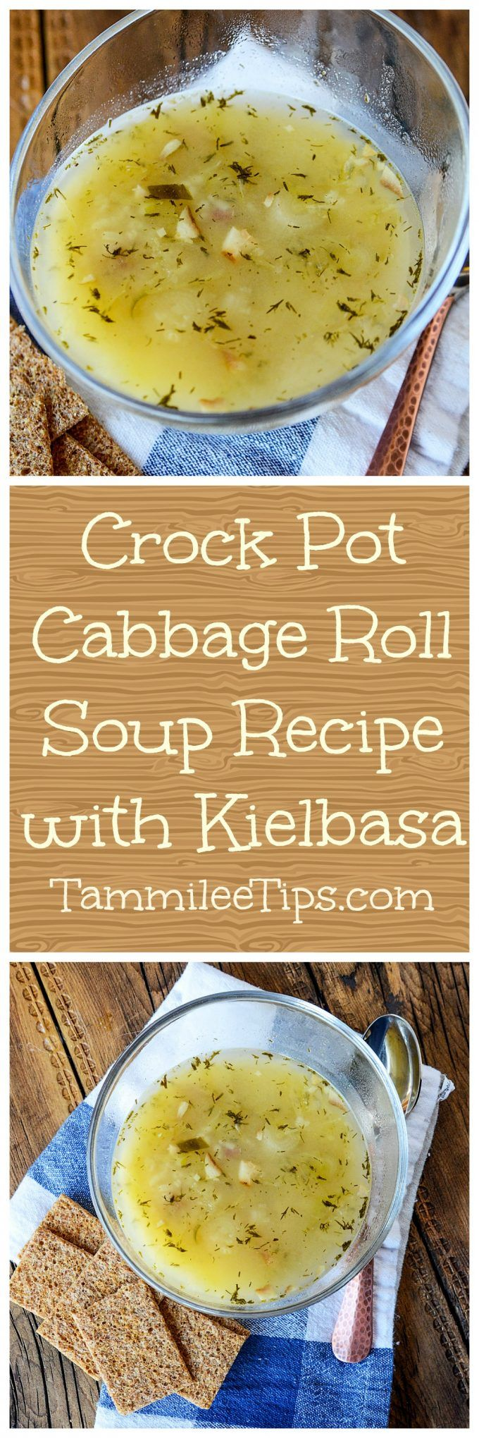 Crock Pot Cabbage Roll Soup Recipe with Kielbasa! This slow cooker soup recipe is so easy to make! Simple, healthy, you can easily add in potatoes and sausage. The perfect comfort foods with bacon and rice! Great for dinners, easy meals, and leftovers!  via @tammileetips