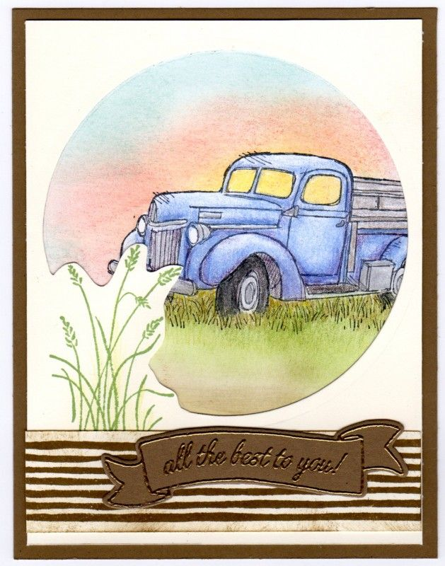 I used 2 small cutting pads and put them at right angles to cut ¾ of the circle and stamped the weeds from the Wetlands on the part not cut out and then trimmed out the circle around the weeds. Colored the image with Prismacolor pencils and sponged sky and grass below truck.