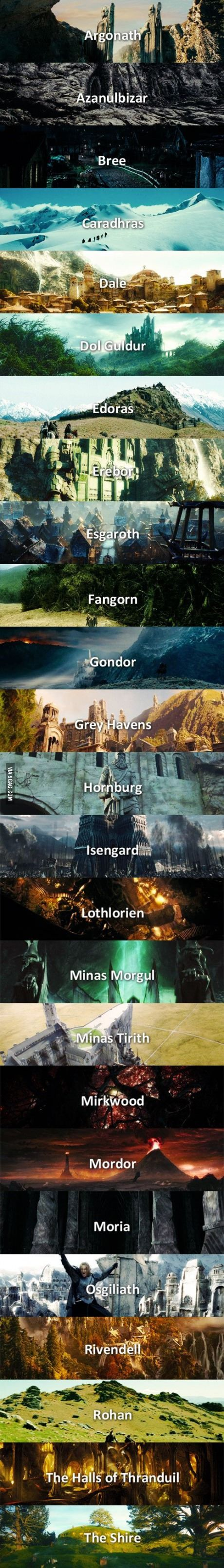 The Middle Earth in a very neat, alphabetized order