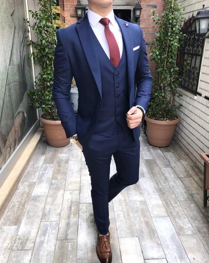 bf27f5a97d730 Terziademaltun - İtalyan stil slim fit erkek ceket yelek pantolon Lacivert takım  elbise T2493
