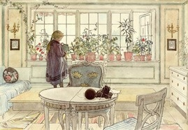 Painting flowers-on-the-windowsill by Carl Larsson. Karin Larsson inspiration #sweden