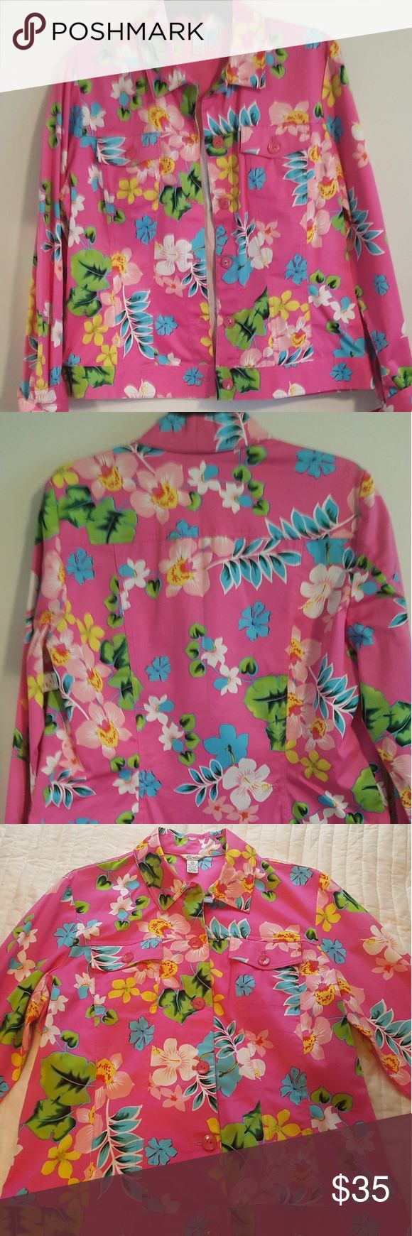 Vintage Floral Jacket Great lightweight pink jacket with floral pattern for anyone who loves the Lily Pulitzer style. Mirette Jackets & Coats