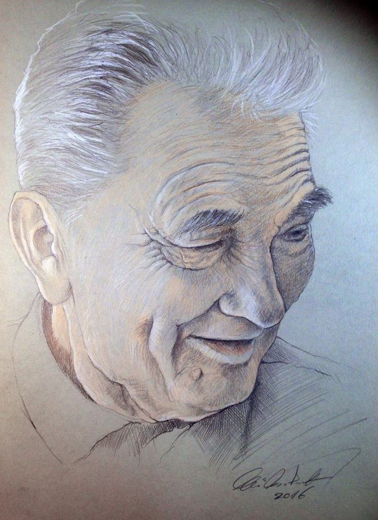oldster portrait - pencil drawing