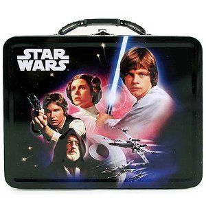 "Star Wars Tin Lunch Box by The Tin Box Company. $14.99. Great for kids & collectors. Measures approximately 7-5/8"" x 6"" x 2-3/4""H. Metal latch and plastic handle. Darth Vader & Stormtrooper on the sides (unseen in picture). From the Star Wars Collection. A New Hope Metal Lunch Box. This black space age tote features Obi-Wan Kenobi, Luke Skywalker, Han Solo, Princess Leia, Darth Vader and many more alongside the Star Wars logo.   Stars Wars ""A New Hope"" debuted in theaters on M..."