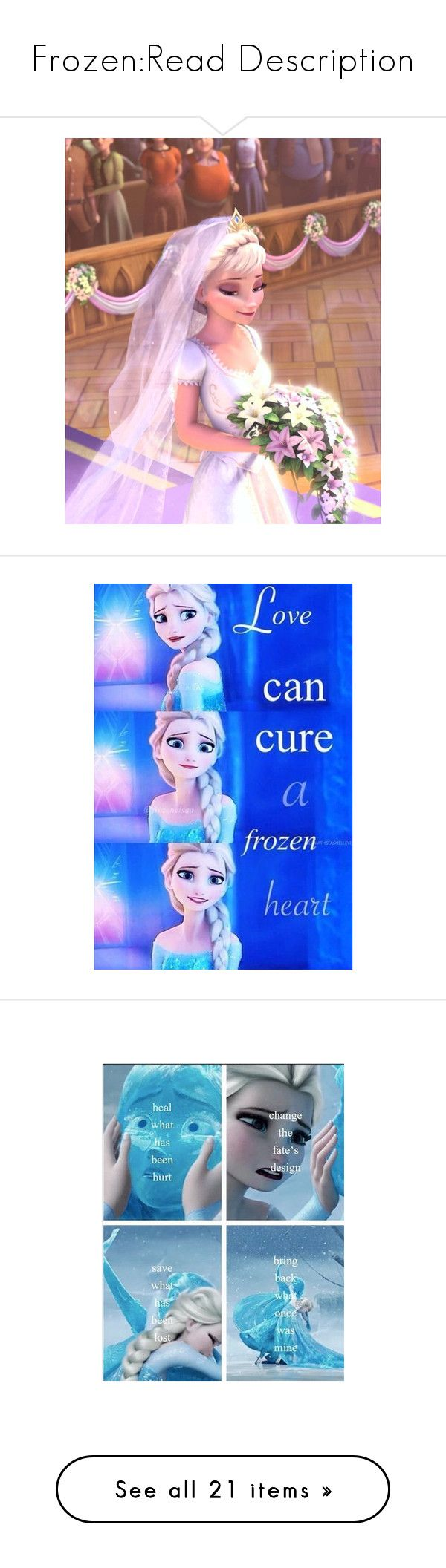 """""""Frozen:Read Description"""" by zmommyandme ❤ liked on Polyvore featuring disney, elsa, frozen, backgrounds, pictures, words, anna, fillers, art and fandoms"""