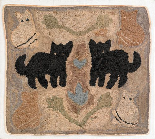 American hooked rug with six cats, ca. 1900