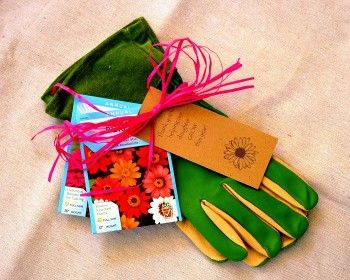 "End of Year Teacher gift idea ""Thank you for helping my child GROW"" Garden gloves tied with Zinnia Seed packets. Living Gifts - Redeem Your Ground 