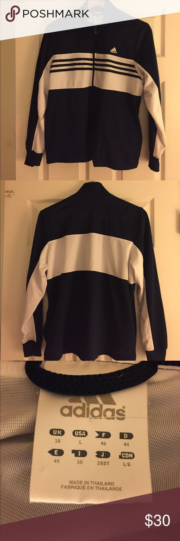 Vintage Addidas Track Jacket Navy blue and white Addidas Track Jacket. Zips up front. Size Large. 2 pockets. adidas Jackets & Coats