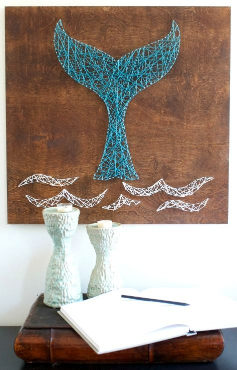 DIY Whale Tail String Art: http://www.completely-coastal.com/2013/03/string-art-how-to.html A gorgeous blue whale tail... with a few seagulls flying made with string on a rustic wood board.