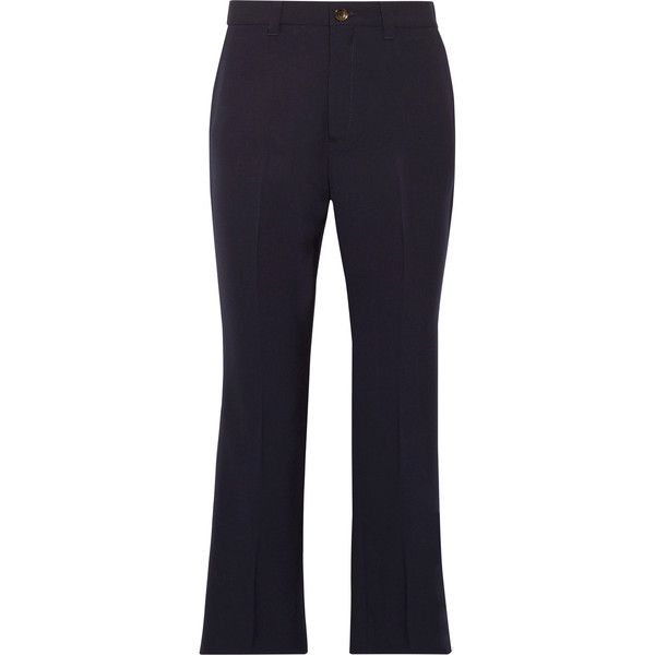 Miu Miu Cropped grain de poudre stretch-wool flared pants featuring polyvore women's fashion clothing pants capris tailored trousers striped flare pants tailored pants pocket pants cropped flared trousers