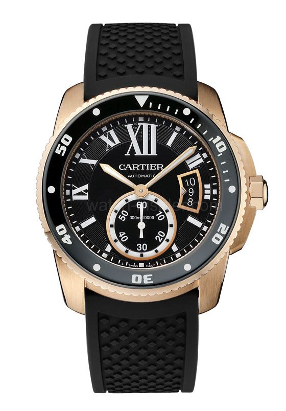 The @cartier Calibre de Cartier Diver (shown in rose gold) meets the challenge of combining the classical Cartier style with the technical requirements necessary to be considered a true divers' watch under the international standard ISO 6425. #cartier #watchtime #divewatch