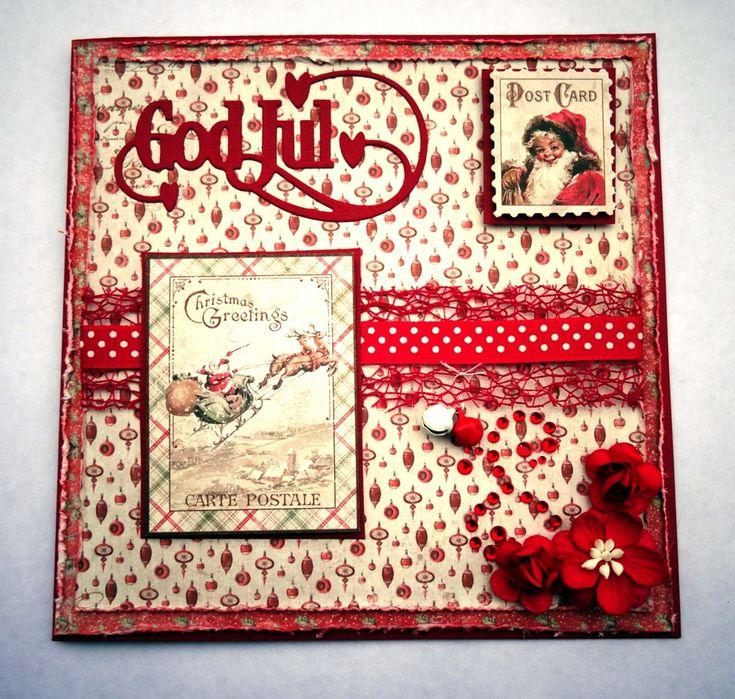 Julkort med Maja Design - http://kristinasscrapbookingblogg.se/julkort-med-maja-design-3/ - Hej!  Idag tänkte jag visa ett julkort, det första för mig i år. Känns som man behöver lägga på ett kol om man skall få alla klara. Hur har du det med julkortstillverkningen? Är du i fas? Jag har alltid lika svårt att komma igång.    Till kortet har jag använt:   Cardstock Blush Red Dark...