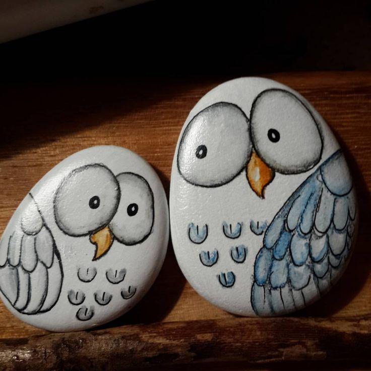 "135 Likes, 4 Comments - Meltem Firuzan Bozkurt Yılmaz (@yogisowl) on Instagram: ""Good night.... İyi geceler... #taşboyama #stonepainting #rockpainting #pebbleart #paintedrocks…"""