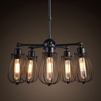 Black iron chandelier lustre abajur american country style industry loft pendant lamp e27 Edison bulb bar/cafe lighting