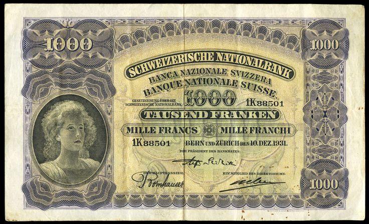 Switzerland, Schweizerische Nationalbank, One Thousand Franken, 10 December 1931, 1K 88501 (Pick 37c). A few tiny spots in margin, otherwise very fine to good very fine, scarce