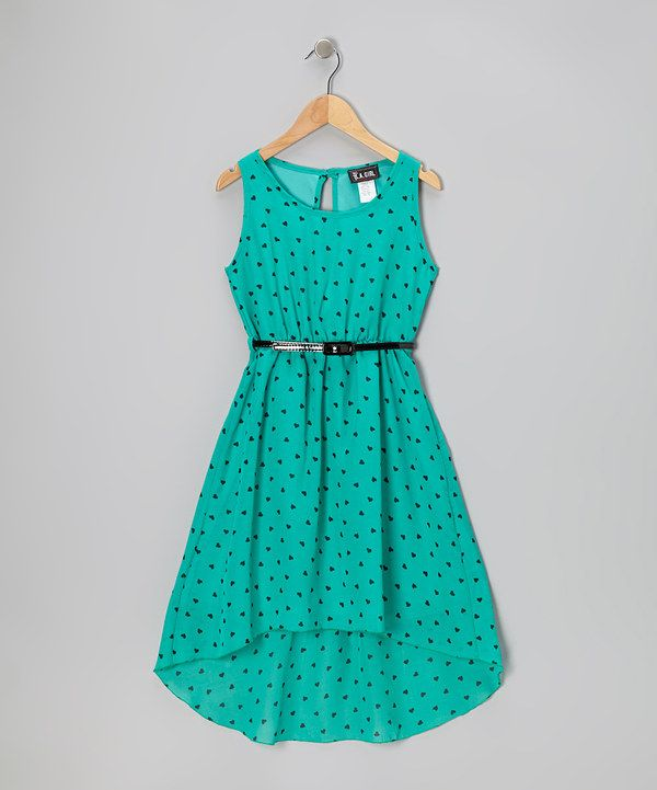 Take a look at this Mint Heart Hi-Low Dress - Girls on zulily today!