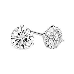 Jewelry Point - 1 Carat Round Diamond Martini-Glass 3-Prong Stud Earrings, $1,399.00 (http://www.jewelrypoint.com/1-carat-round-diamond-martini-glass-3-prong-stud-earrings/)