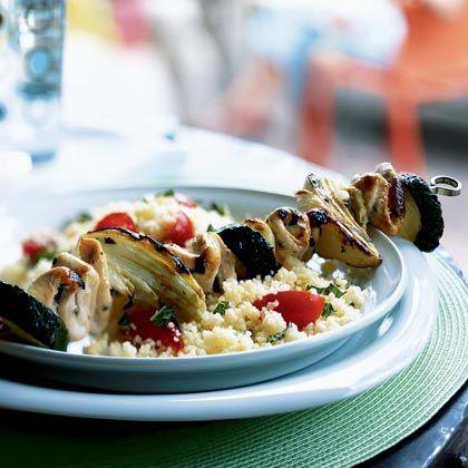 Mediterranean Chicken and Vegetable Kebabs, under 300 calories