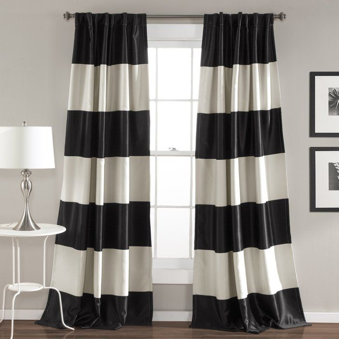 Ine Striped Blackout Thermal Rod Pocket Curtain Panels