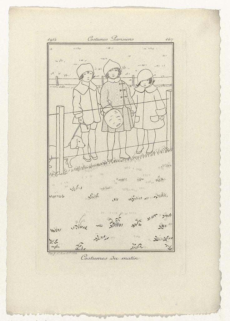 Anonymous | Journal des Dames et des Modes, Costumes Parisiens, 1914, No. 147 : Costumes du matin, Anonymous, 1914 | Drie kinderen gekleed in kostuums voor de ochtend. Zij staan bij een hek, één van hen heeft een hond aan de lijn. Proefdruk van een prent uit het modetijdschrift Journal des Dames et des Modes (1912-1914).