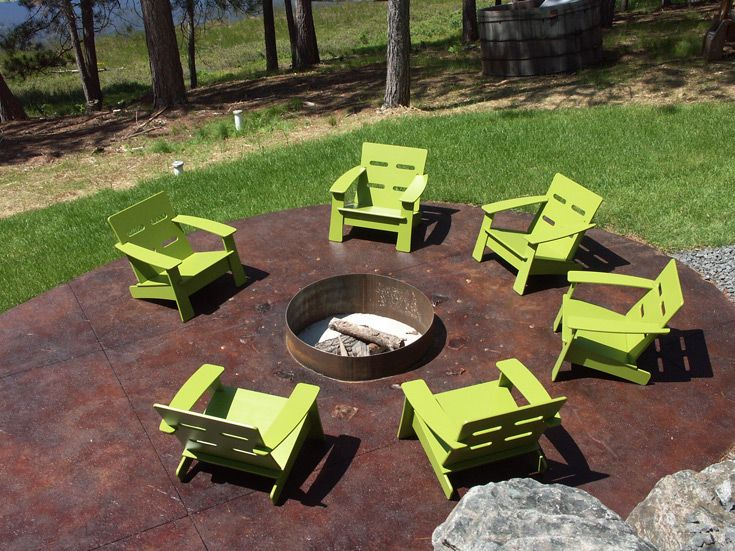 Cabin Fire Ring With Loll Designs Cabrio Lounge Chairs