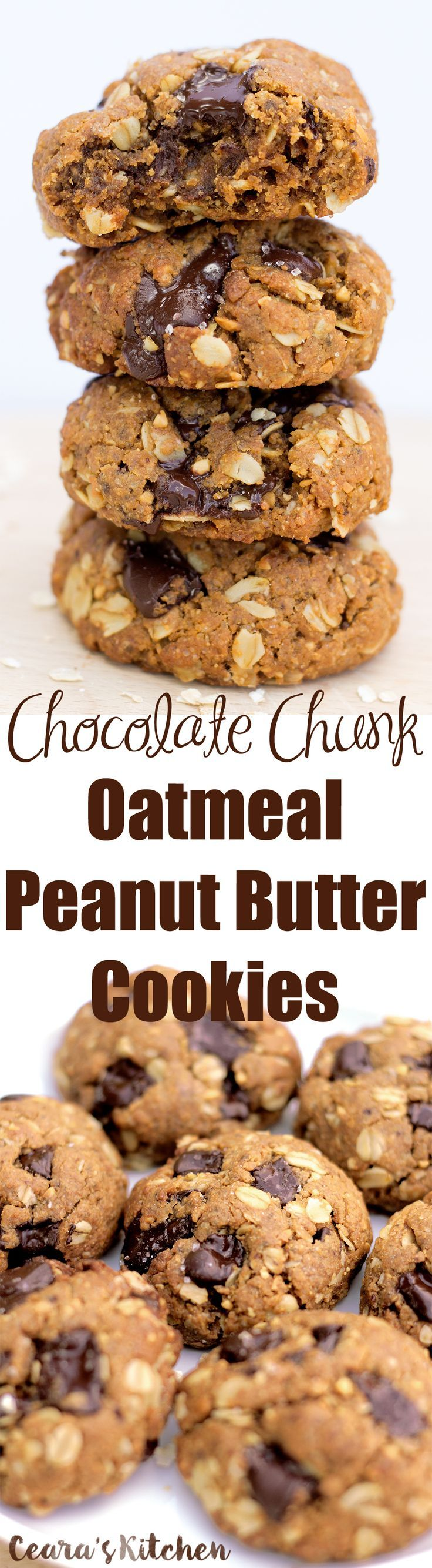 These Chocolate Chunk Oatmeal Peanut Butter Cookies are completely flourless, extremely chewy, thick and filled with melty chocolate chunks (plus a sprinkle of sea salt on top!)!