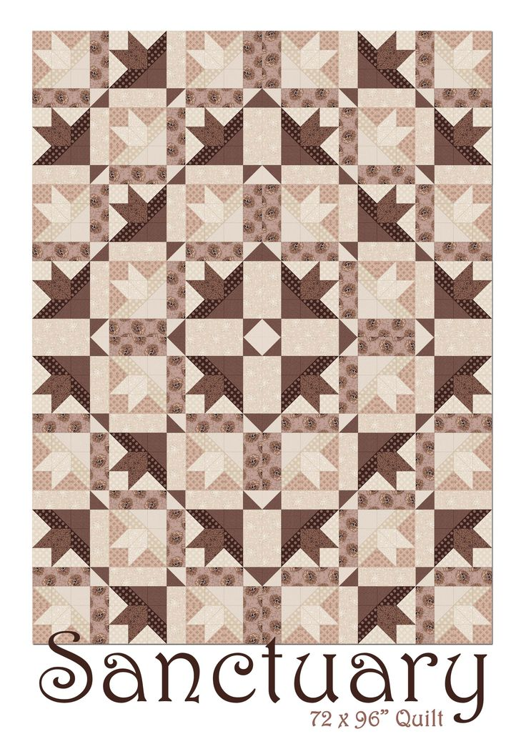 Pdf of pattern pages available for download here: http://www.africanskyfabrics.com/images/Sanctuary%20by%20Ginger%20Lily%20Studio%2072%20x%2096in%20Quilt.pdf
