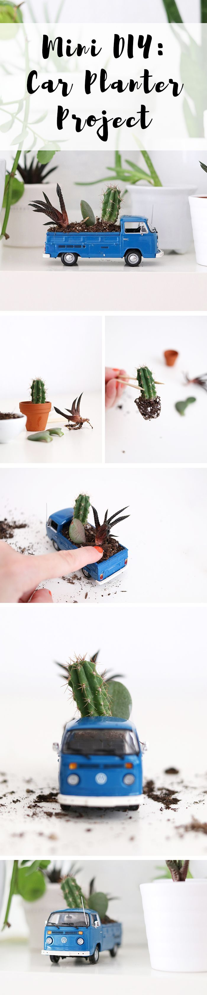 Deko für die Wohnung: kleines Spielzeugauto mit Erde und Blumen bepflanzen. | how to make a mini car planter.
