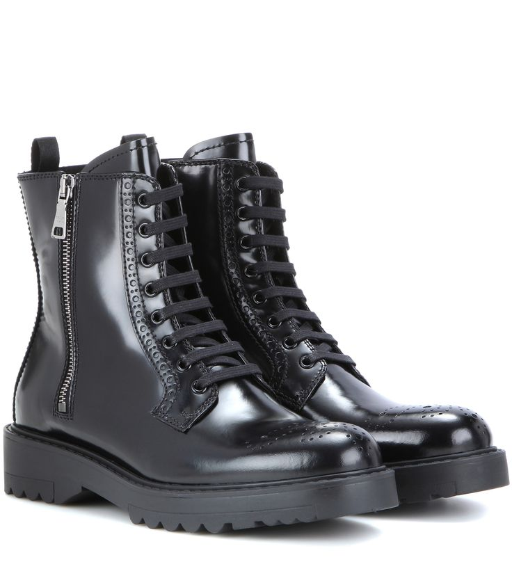 Prada Lace-up leather ankle boots Black             $129.00