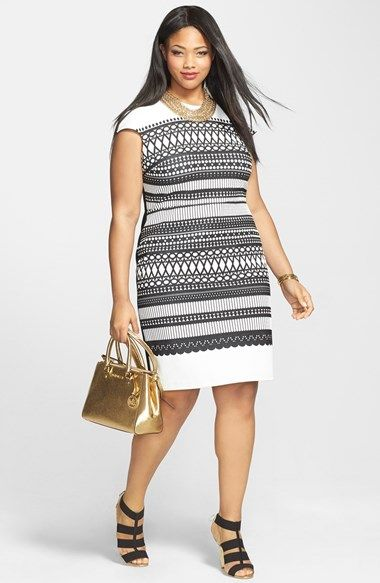 Plus Size Fashion for Women - Plus Size Dress - Julia Jordan Cap Sleeve Knit Sheath Dress (Plus Size) | Nordstrom