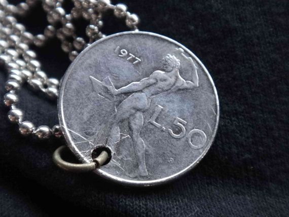 Coin Jewelry Necklace Italy Italian Vintage 1977 50 by GalleryLF, $9.95