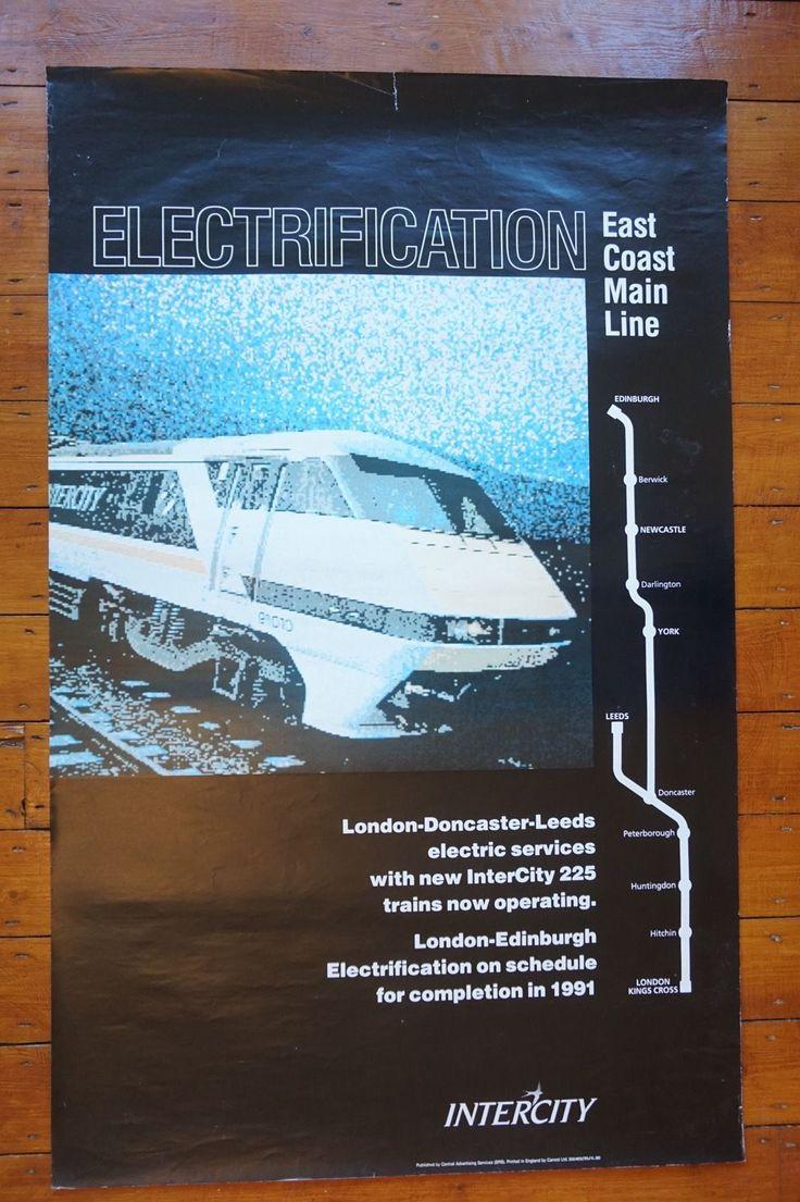 1990 Inter City Electrification East Coast Main Line Railway Travel Poster | eBay