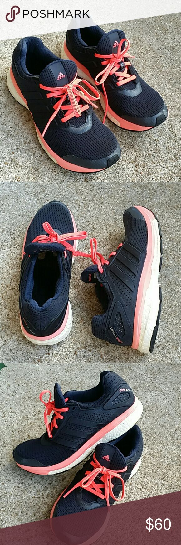 Adidas glide boost Adidas Supernova glide boost.  Navy blue, black, hot pink color. Worn only a couple of times. Gently used. Good condition. adidas Shoes Athletic Shoes