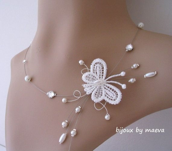 butterfly necklace bridal jewelry and ivory pearls and