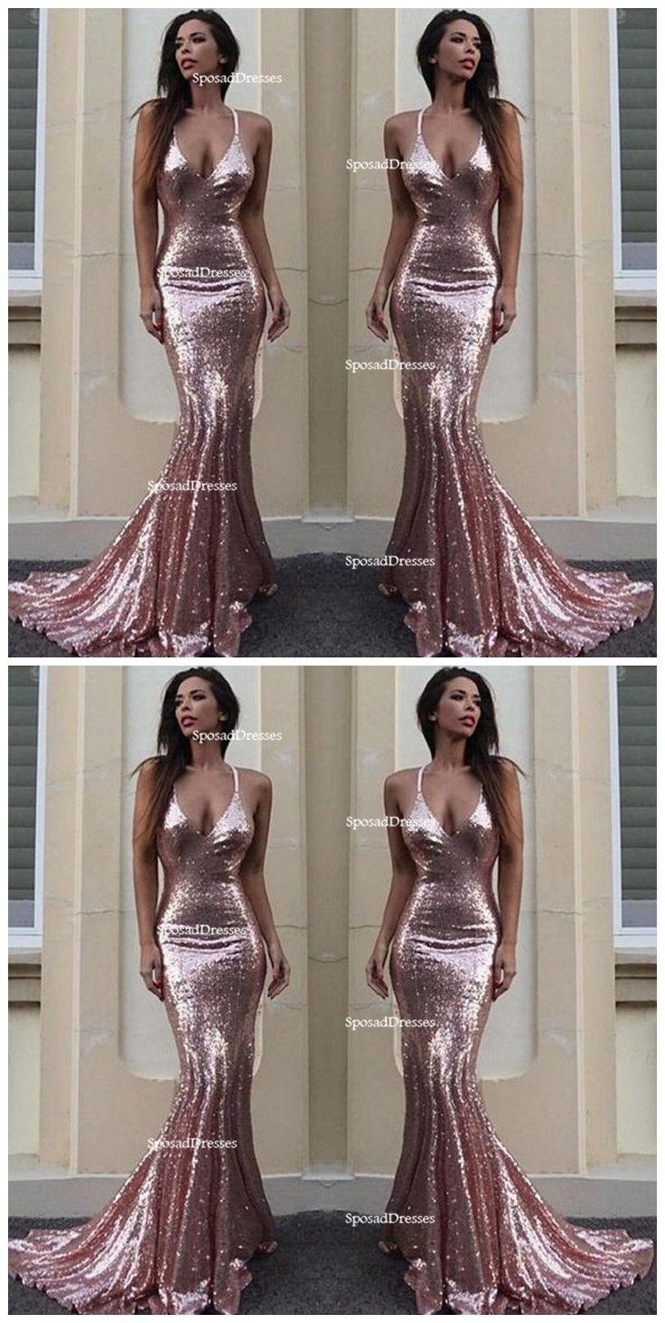 Sexy Backless Rose Gold Sequin Mermaid Evening Prom Dresses, Popular 2018 Party Prom Dresses, Custom Long Prom Dresses, Cheap Formal Prom Dresses, 17210 #cheapfashionideas
