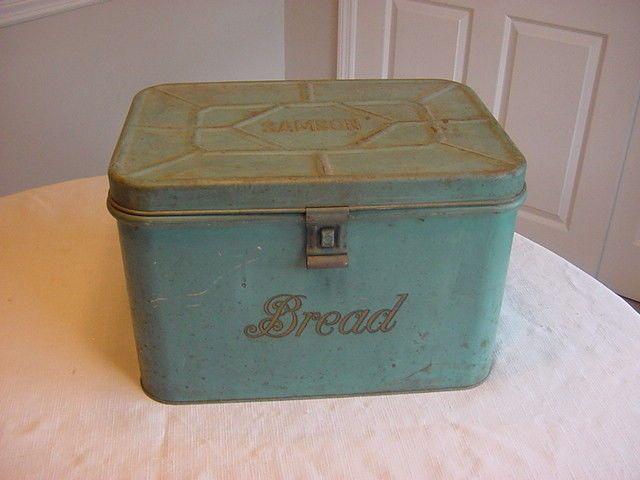 Vintage Samson Tin Metal Locking Bread Box With Handles