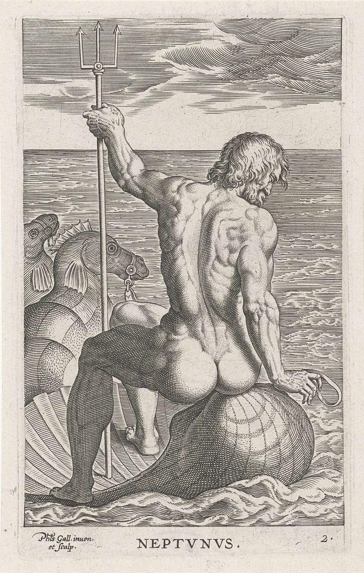 Philips Galle | Zeegod Neptunus, Philips Galle, 1586 | De zeegod Neptunus, gezeten op een schelp getrokken door zeepaarden. De prent maakt deel uit van een zeventiendelige serie over rivier- en zeegoden.