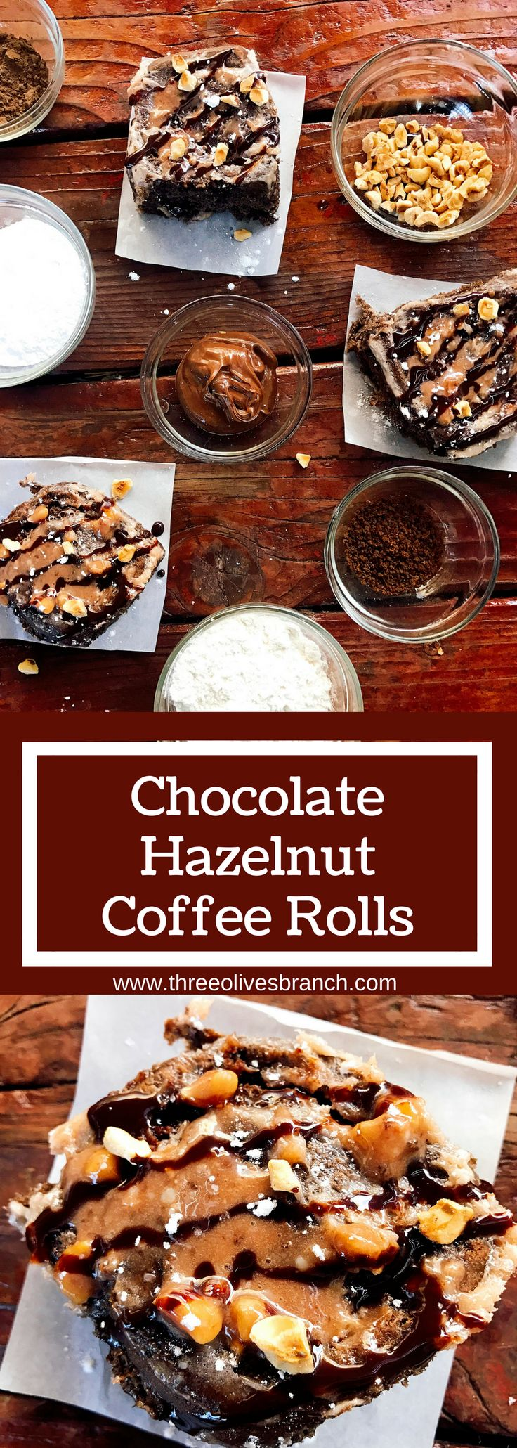 Chocolate hazelnut rolls are a decadent and sweet treat perfect for breakfast, brunch, or dessert! Make them the night before for an easy morning. A family holiday tradition, these vegetarian and kid friendly rolls are a great way to start the day. Flavored creamer makes strong flavors. Chocolate Hazelnut Coffee Rolls   Three Olives Branch   www.threeolivesbranch.com #DelightfulMoments #ad @walmart