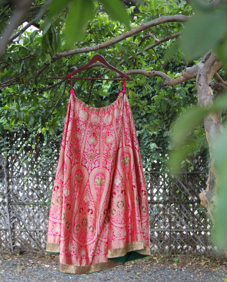 Woven Wonders of Banaras - A Pink and Gold intricately woven lehenga has a timeless elegance and is a definite heirloom.