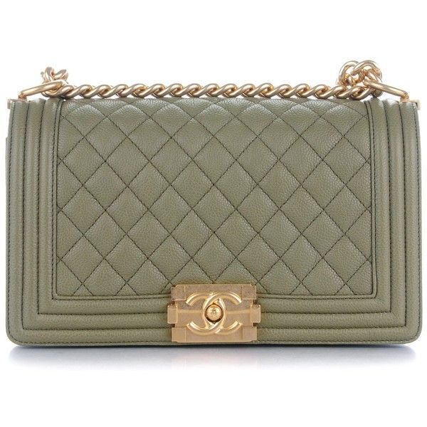 CHANEL Caviar Quilted Medium Boy Flap Khaki ❤ liked on Polyvore featuring bags, handbags, shoulder bags, quilted handbags, quilted chain shoulder bag, leather shoulder bag, genuine leather handbags and green leather purse