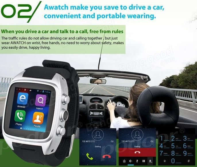 Podoor Z004 MTK6572 1.6-inch Android 4.2 Bluetooth Smart Watch Phone Sale-Banggood.com